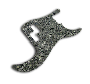 P Bass Pickguard, Black White Abalone Swirl