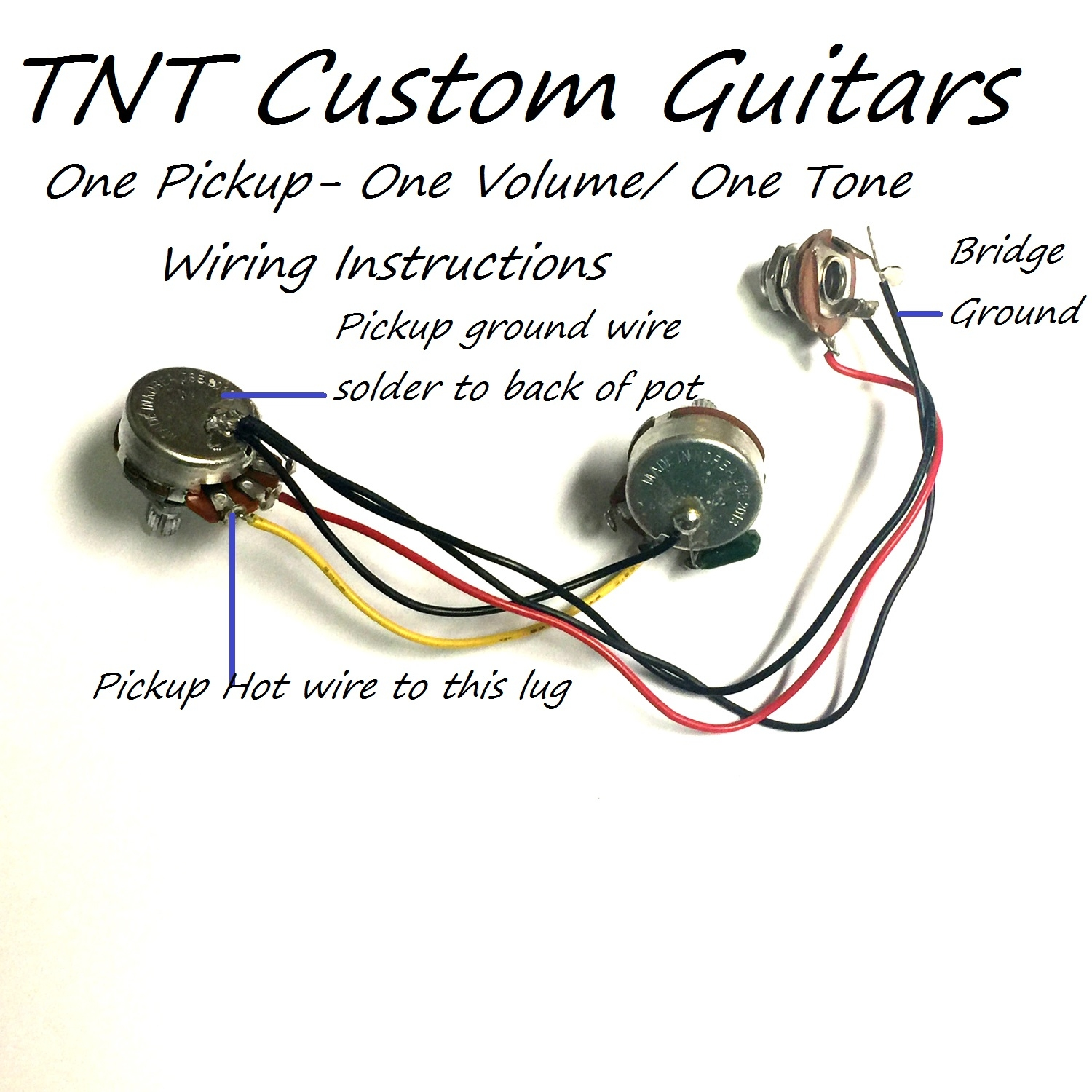 Wiring Electric Guitar Pots 1v1t One Pickup Harness Standard 1 Volume Tone