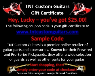 Gift Certificate, Choice of Amount, www.tntcustomguitars.com