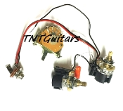 1V1T Prewired Harness, 2 Pickup CTS DUAL PUSH-PULL Coil Split 3Way Fender Switch