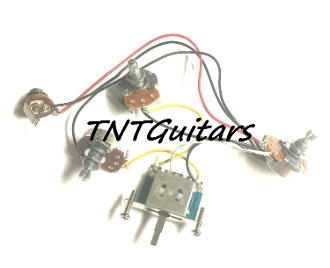 2V1T Prewired Harness, 2 Pickup, 3Pot, 2Vol+1Tone, 3WBladeSwitch