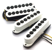 7 String Crusaders HSS Pickup Set, Humbucker-Single-Single Adjustable Hex Cap Dragonfire Pickups