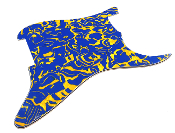 Blank Strat Pickguard, Blue Yellow Shell Swirl